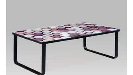 """Konferenční stolek 105x55x32, sklo s potiskem """"korek""""/černá"""