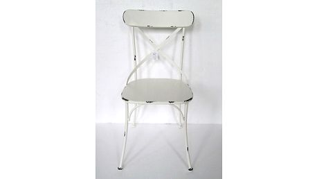 Židle kovová, barva bílá antik