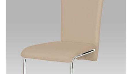 Jídelní židle chrom / cappuccino koženka