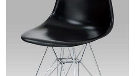 Jídelní židle, plast černý / natural