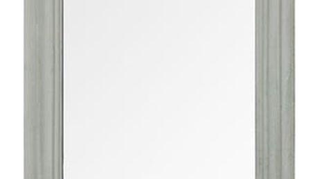 Zrcadlo v dřevěném rámu s háčky, barva šedá antik