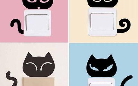 Samolepka na vypínač - koťátko, 4 ks