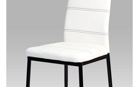 Jídelní židle, koženka bílá / černý lak