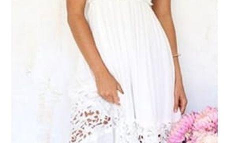 Dlouhé bílé šaty s krajkou a vykrojenými zády