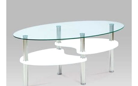 Coffee table 100x60x42, 6mm clear tempered glass with white high gloss MDF shelves, stainless steel