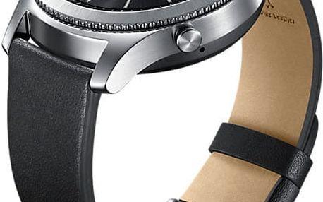 Samsung náramek ET-YSL76MBEG Leather Strap Gear S3, černý - ET-YSL76MBEGWW
