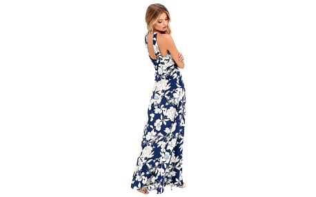 Dlouhé květinové šaty s holými rameny - 4 velikosti