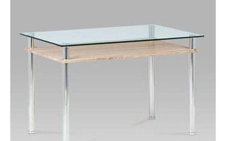 Jídelní stůl 120x75, čiré sklo / sonoma / leštěný nerez
