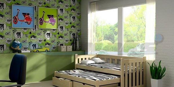 Dětská postel s výsuvnou přistýlkou DPV 002 200 cm x 90 cm Bezbarvý ekologický lak