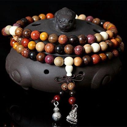 Dřevěný buddhistický náramek - 108 korálků