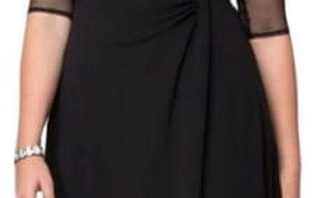 Společenské šaty se síťovanými rukávy - size plus velikosti