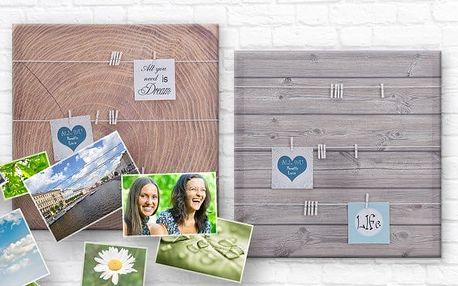 Plátna s kolíčky pro připevnění fotografií s 3 různými motivy