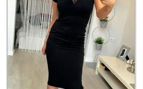 Pouzdrové šaty se síťovaným dekoltem - 4 velikosti