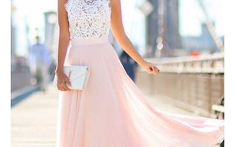 Dlouhé šaty s krajkovým vrškem a růžovou sukní