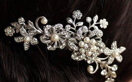 Svatební hřebínek do vlasů s perličkami a kamínky - více variant