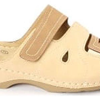 Dámské zdravotní pantofle KOKA 9 béžová/hnědá