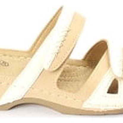Dámské zdravotní pantofle KOKA béžová/bílá