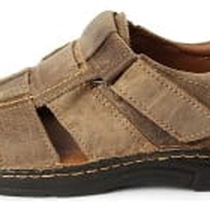Pánské kožené sandály - hnědé