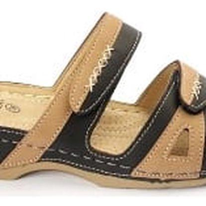 Dámské zdravotní pantofle KOKA černá/béžová