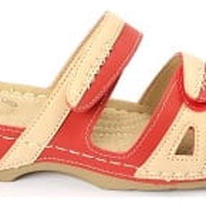 Dámské zdravotní pantofle KOKA červená/béžová