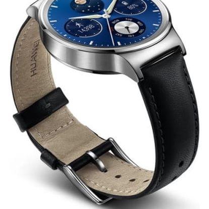 Chytré hodinky Huawei Watch W1 Stainless Steel + Black Leather (WA-WATCHW1SOM)