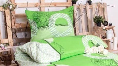 XPOSE ® Bavlněné povlečení na dvě lůžka LADA - zelená 140x200, 70x90