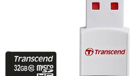 Transcend Micro SDHC 32GB Class 10 + USB čtečka - TS32GUSDHC10-P3