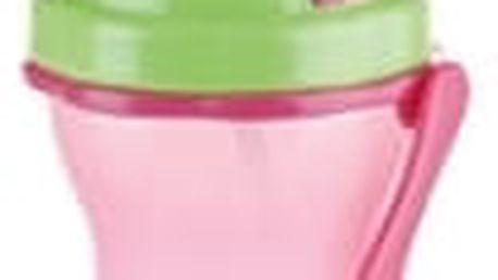 Dětská láhev s brčkem BAMBINI 300 ml, zelená, růžová