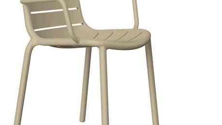 Sada 2 béžových zahradních židlí s područkami Resol Gina - doprava zdarma!