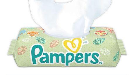 PAMPERS Natural Clean S VÍČKEM 64 ks - vlhčené ubrousky
