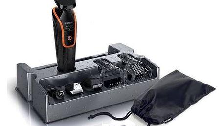 Zastřihovač vousů Philips QG3340/16 černý/oranžový + Doprava zdarma