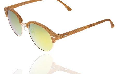 Sluneční brýle unisex Wood Sunglasses Yellow Green design dřeva