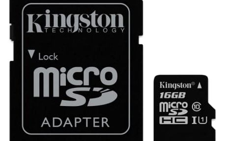 Paměťová karta Kingston 16GB UHS-I U1 (45R/10W) + adapter (SDC10G2/16GB)