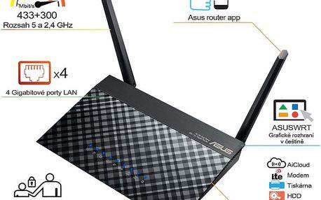 ASUS RT-AC52U B1 - 90IG03N0-BM3110 + Webshare VIP Silver, 1 měsíc, 10GB, voucher zdarma