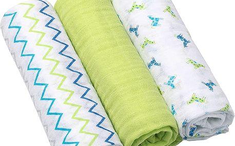 BABY ONO Pleny mušelínové Super soft, 3ks, zelené
