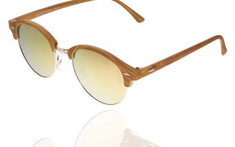 Sluneční brýle unisex Wood Sunglasses Gold Brown design dřeva