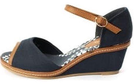 Dámské sandály na klínku - tmavě modré