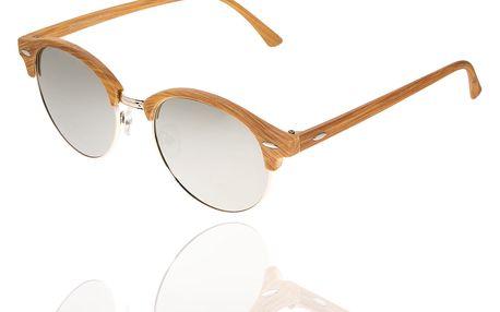 Sluneční brýle unisex Wood Sunglasses Silver design dřeva