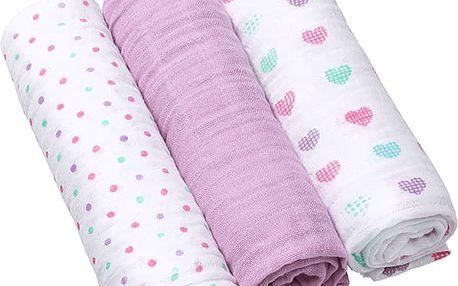 BABY ONO Pleny mušelínové Super soft, 3ks - fialové