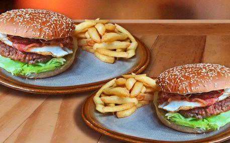 2x hovězí burger v Krušovické plachetnici