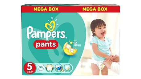 Plenkové kalhotky Pampers Mega Box vel. 5, 96ks