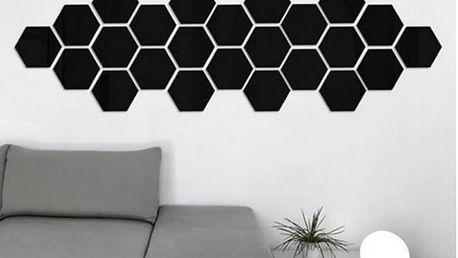 Nalepte.cz 3D černé hexagony 12 ks 4,5 x 4,5 cm