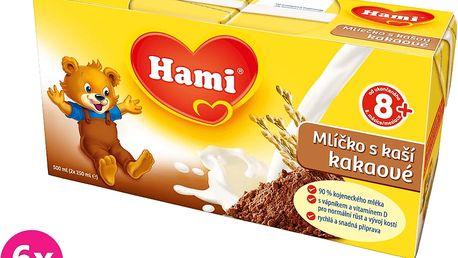 6x HAMI kakaové mlíčko s kaší (2 x 250 ml)