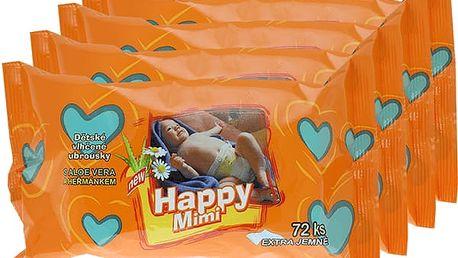 4x HAPPY MIMI dětské vlhčené ubrousky 72 ks