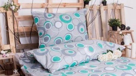 XPOSE ® Bavlněné povlečení na dvě lůžka HEDVIKA - šedo-zelená 140x200, 70x90