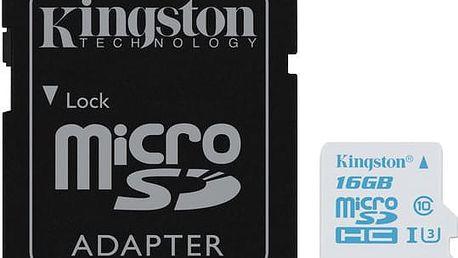 Kingston Action Card Micro SDHC 16GB Class 10 UHS-I U3 + SD adaptér - SDCAC/16GB