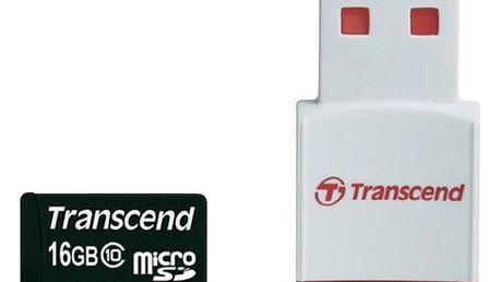 Transcend Micro SDHC 16GB Class 10 + USB čtečka - TS16GUSDHC10-P3