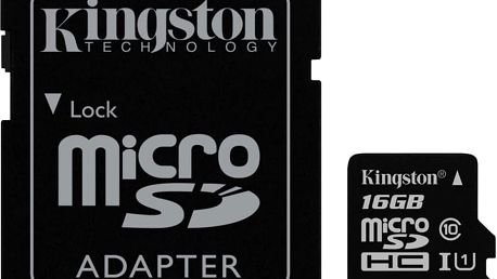 Kingston Micro SDHC 16GB Class 10 UHS-I + SD adaptér - SDC10G2/16GB