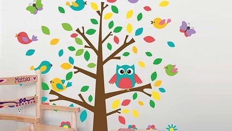 Strom s barevnými listy a ptáčky 118 x 110 cm