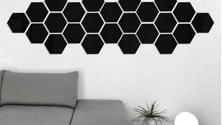 3D černé hexagony 12 ks 4,5 x 4,5 cm